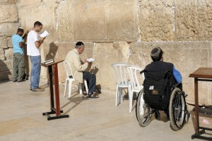 Jerusalem, Israel - November 10, 2010: Jewish worshippers are praying at the Wailing Wall