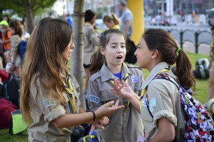Israel Scouts in a lively discussion getting ready to leave for summer camp